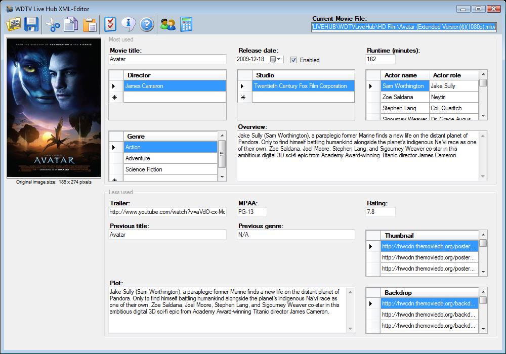 WDTV Live Hub XML-Editor